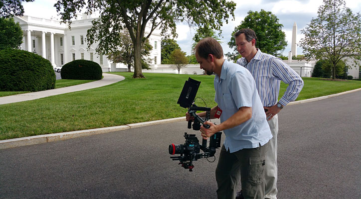 Filming on Pebble Beach at the White House