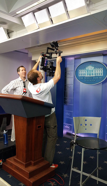 Filming in the White House Press Room